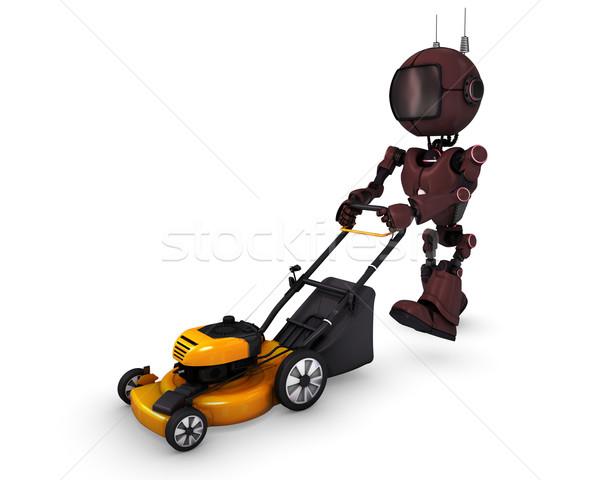 Android fűnyíró 3d render fű férfi robot Stock fotó © kjpargeter