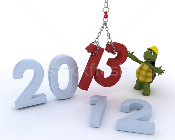 Teknősbéka új év 3d render óceán kagyló ünneplés Stock fotó © kjpargeter
