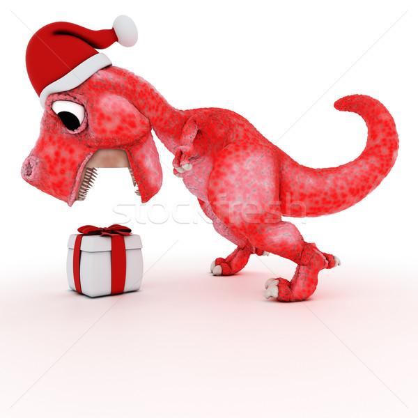 Vriendelijk cartoon dinosaurus geschenk christmas vak Stockfoto © kjpargeter