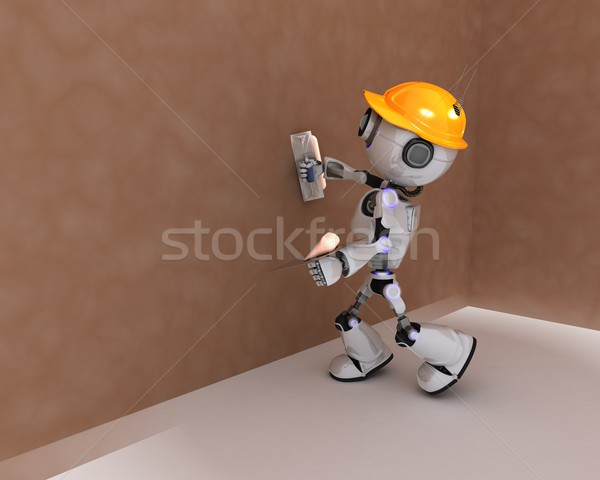 Robot plastering a wall Stock photo © kjpargeter