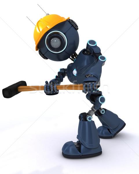 Androide constructor 3d hombre martillo herramienta Foto stock © kjpargeter