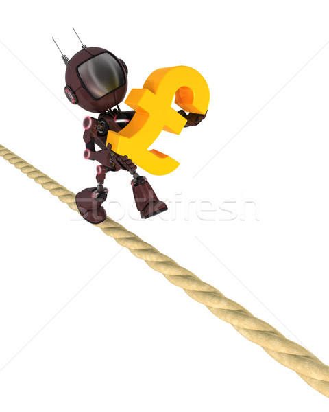 Andróide apertado corda 3d render homem financiar Foto stock © kjpargeter