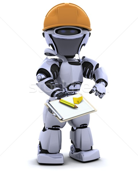 Сток-фото: робота · буфер · обмена · 3d · визуализации · служба · будущем