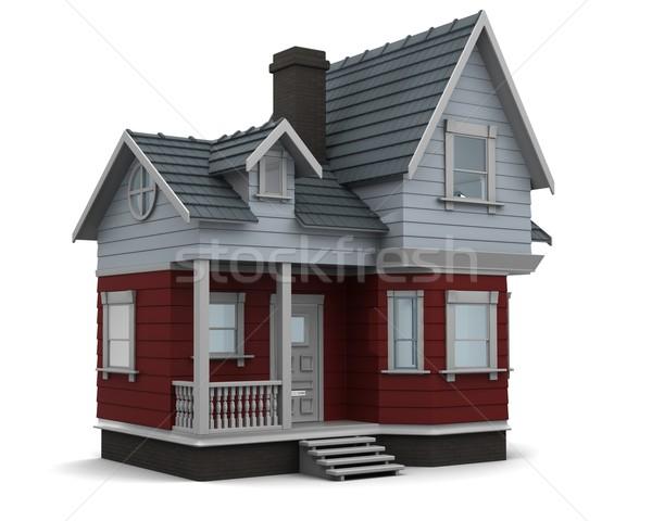 Geleneksel kereste ev 3d render aile Stok fotoğraf © kjpargeter