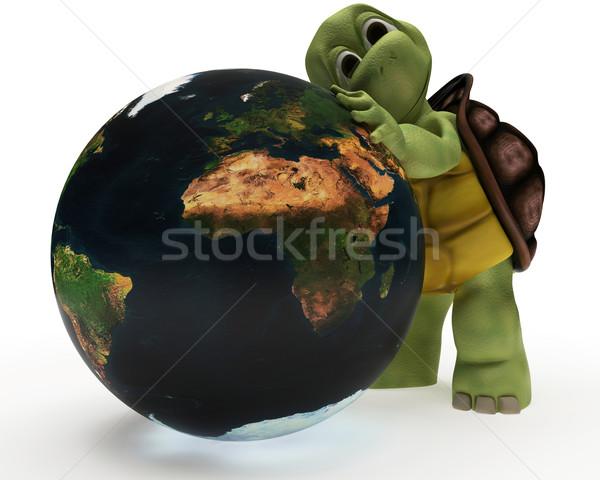 Teknősbéka karikatúra ölel Föld 3d render Stock fotó © kjpargeter