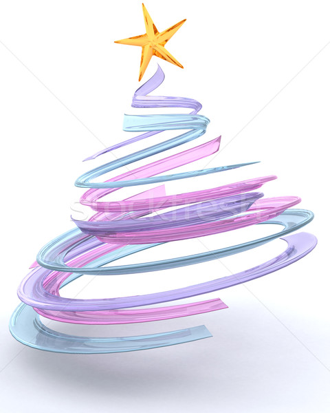 Glass spiral Christmas tree Stock photo © kjpargeter