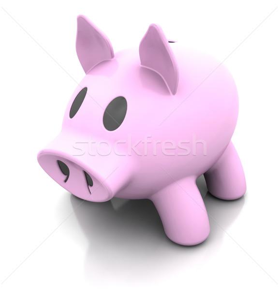 Piggy bank 3d render tradicional rosa financiar porco Foto stock © kjpargeter