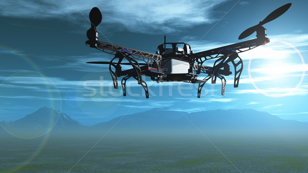 3D drone flying in the sky Stock photo © kjpargeter