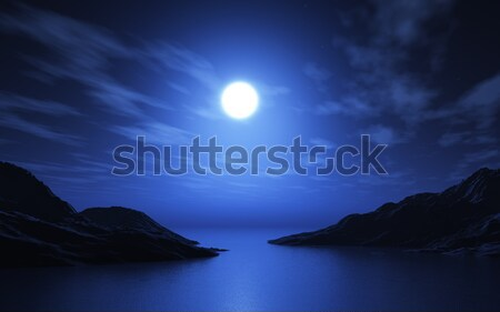 3D landscape of lake and mountains Stock photo © kjpargeter