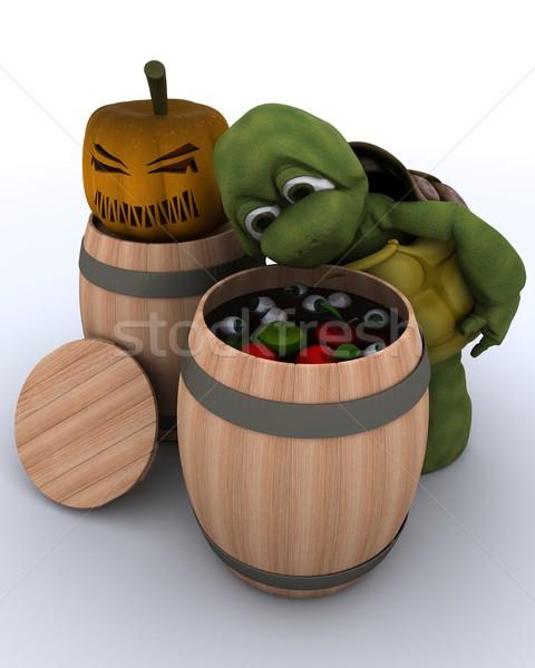 tortoise bobbing for apples in a barrel Stock photo © kjpargeter