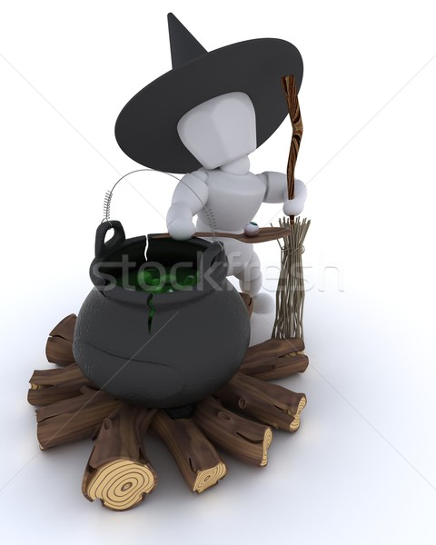 witch with cauldron of eyeballs on log fire Stock photo © kjpargeter