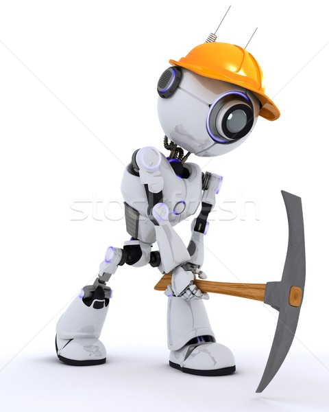 Robot builder with a pickaxe Stock photo © kjpargeter