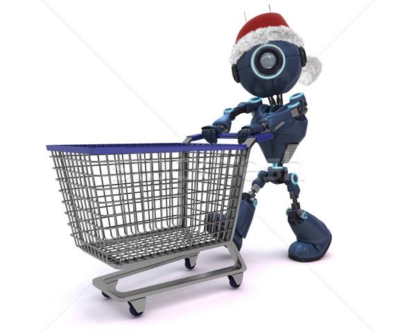 Android karácsony vásárlás 3d render bolt robot Stock fotó © kjpargeter