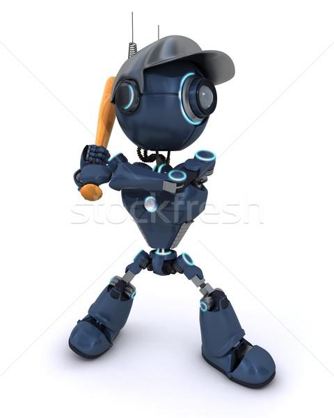 Android játszik baseball 3d render Stock fotó © kjpargeter
