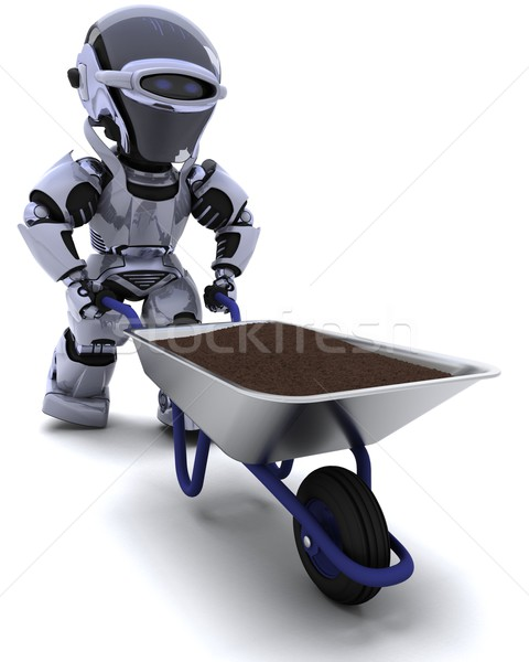 robot gardener with a wheel barrow carrying soil Stock photo © kjpargeter