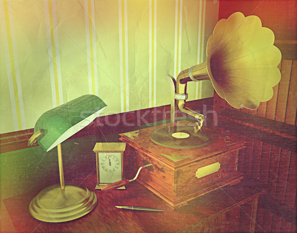 3D render of an old gramophone with retro effect Stock photo © kjpargeter