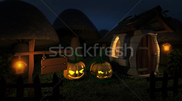 fantasy woodland cottage at halloween Stock photo © kjpargeter