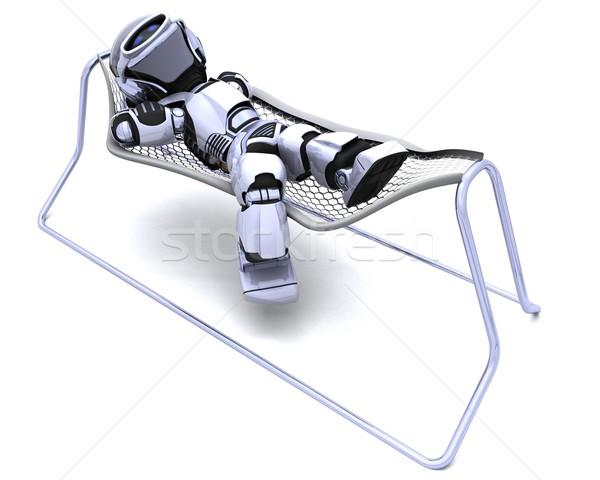 Robot függőágy 3d render jövő modern hinta Stock fotó © kjpargeter