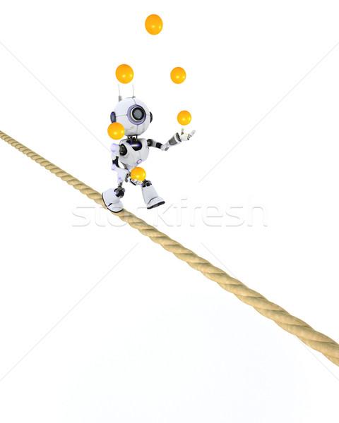 Robot stretto corda rendering 3d giocoleria uomo Foto d'archivio © kjpargeter