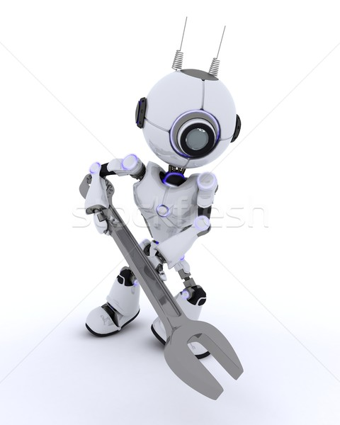 Robot with spanner Stock photo © kjpargeter