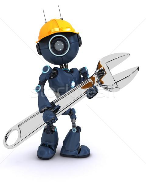Foto stock: Andróide · construtor · chave · inglesa · tornar · homem · construção