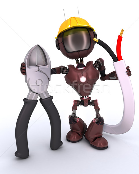 android builder with wire cutters Stock photo © kjpargeter