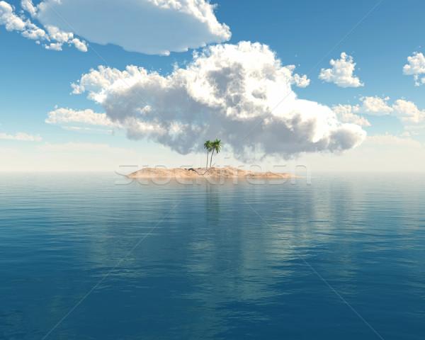 Тропический остров синий морем 3d визуализации небе дерево Сток-фото © kjpargeter