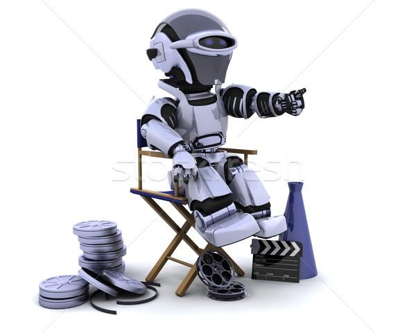 Robot megafon sandalye 3d render sinema gelecek Stok fotoğraf © kjpargeter