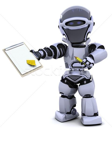 Zdjęcia stock: Robot · schowek · 3d · biuro · przyszłości · dokumentu