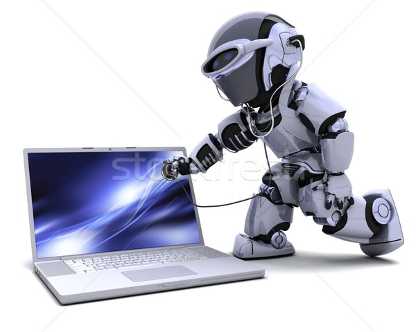 robot with computer and stethoscope Stock photo © kjpargeter