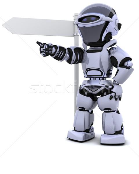 ロボット 道標 3dのレンダリング 自然 旅行 将来 ストックフォト © kjpargeter
