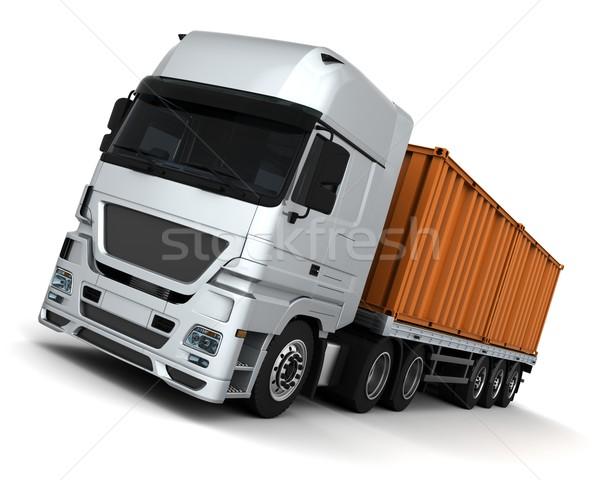 Stock fotó: Konténer · házhozszállítás · jármű · 3d · render · teherautó · utazás