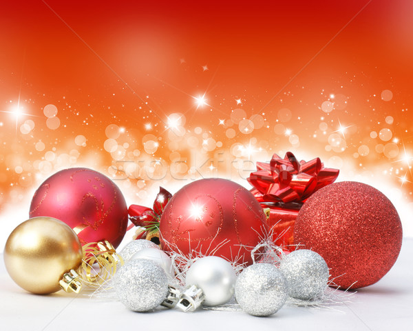 Karácsony díszítések csillagos fények színes csillagok Stock fotó © kjpargeter