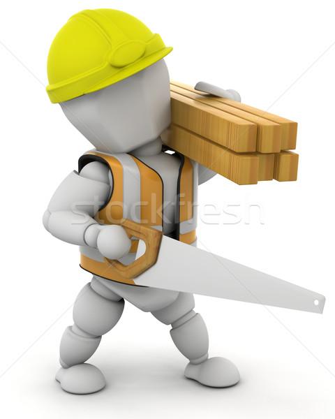 商業照片: 建築工人 · 三維渲染 · 男子 · 木 · 工作
