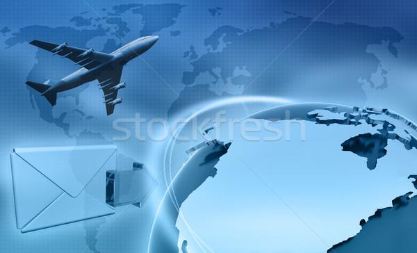Globális üzlet kép földgömb térkép technológia művészet Stock fotó © kjpargeter