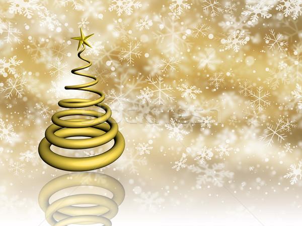 Stok fotoğraf: Altın · Noel · noel · ağacı · kar · tanesi · soyut · kar
