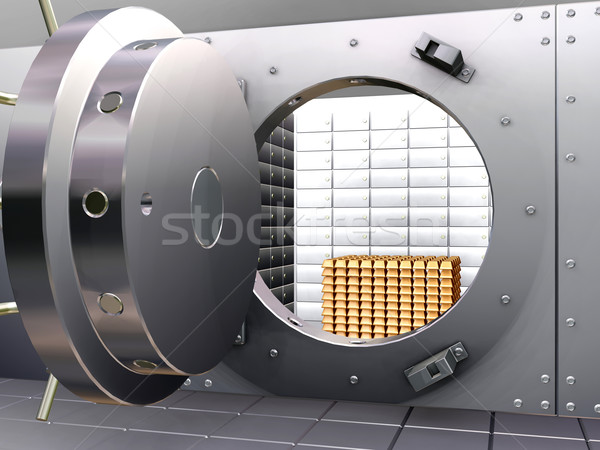 Bank agykoponya 3d render nyitva arany fém Stock fotó © kjpargeter