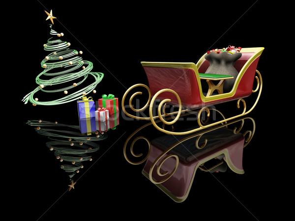 Stok fotoğraf: 3d · render · noel · ağacı · hediyeler · kar · arka · plan
