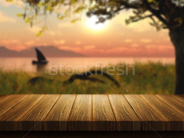 Wooden table with defocussed image of boat on a lake Stock photo © kjpargeter