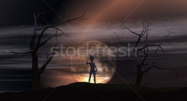 3D landscape with alien Stock photo © kjpargeter