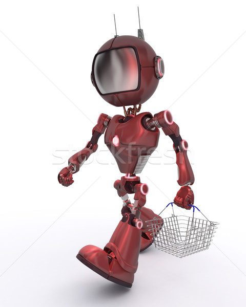 Android with shopping basket Stock photo © kjpargeter