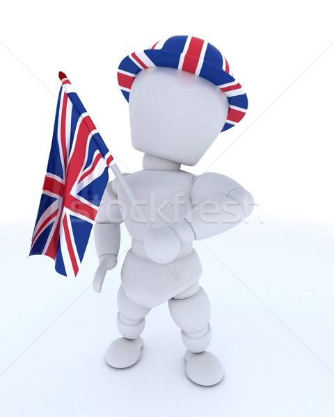 Man union jack hoed vlag 3d render vakantie Stockfoto © kjpargeter