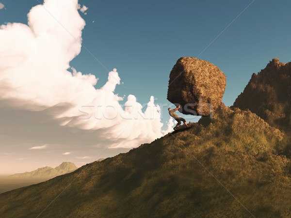 Stock photo: 3D render of a man pushing a rock up a mountain