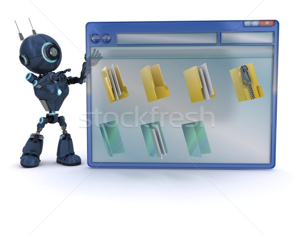 Android számítógép ablak 3d render férfi akták Stock fotó © kjpargeter