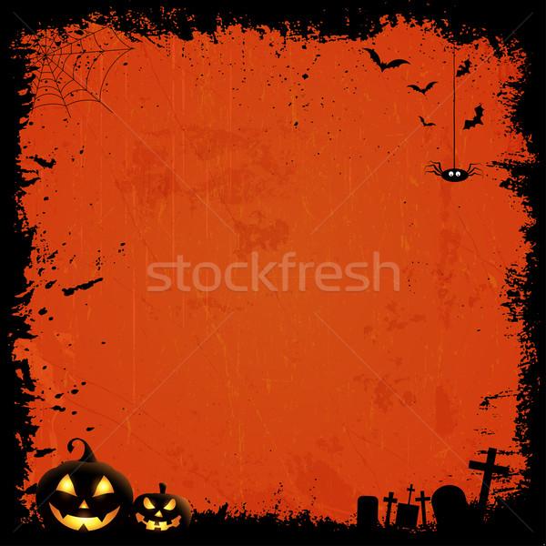 Grunge halloween estilo abóboras fundo silhueta Foto stock © kjpargeter