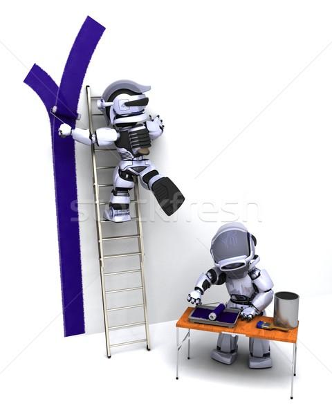 Robotok fal 3d render festék belső jövő Stock fotó © kjpargeter