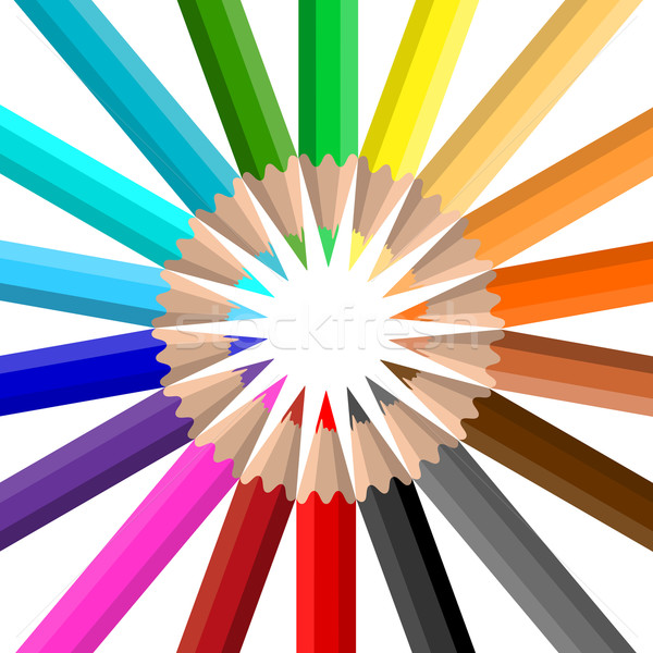Circle of coloured pencils Stock photo © kjpargeter
