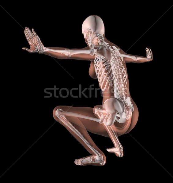 Femminile scheletro yoga posizione rendering 3d medici Foto d'archivio © kjpargeter