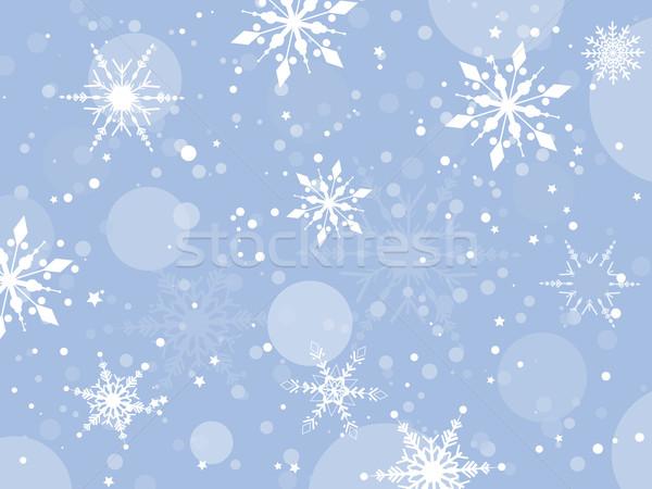 Foto stock: Copo · de · nieve · resumen · estrellas · nieve · invierno
