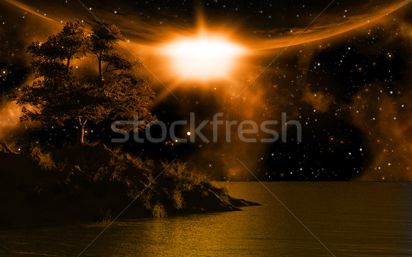3D background with island in sea Stock photo © kjpargeter